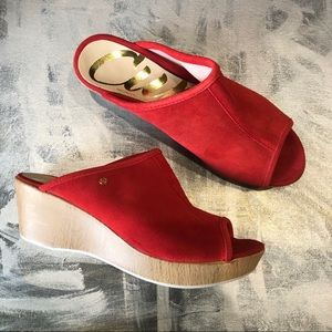 NWT - Cuple Red Suede Slide Wedge Sandal 8.5